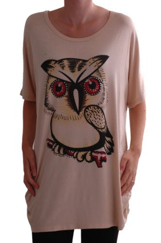1Owl Print Lace Tunic Top