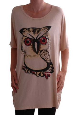 Owl Print Lace Tunic Top
