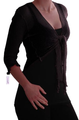 Foxy Mesh Knit Tie Front Cardigan