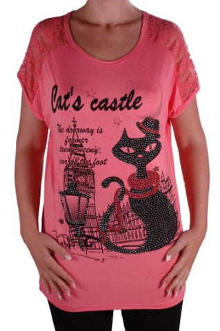 Cat Graphic Lace Tunic Top