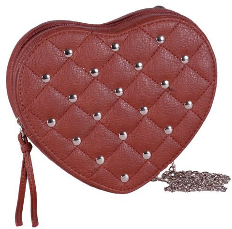 Heart Chain Faux Leather Clutch Bag