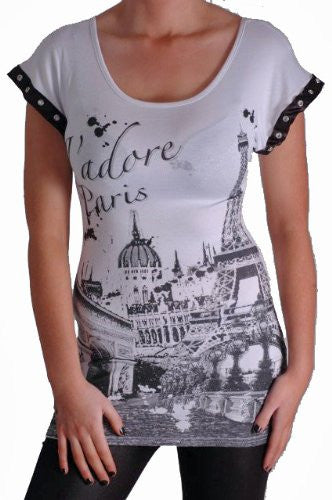 J'Adore Paris Print Tops