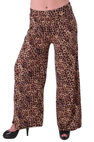 Savannah High Waisted Flared Leopard Print Palazzo Trousers