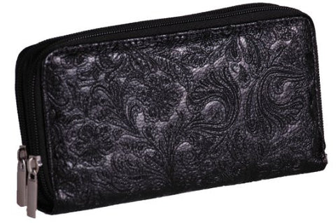 Faux Leather Double Zip Wallet