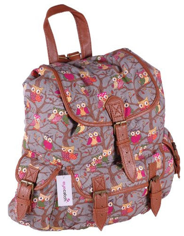 Canvas Owl Print BackPack