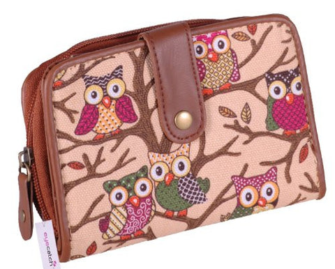 Canvas Owl Print Purse