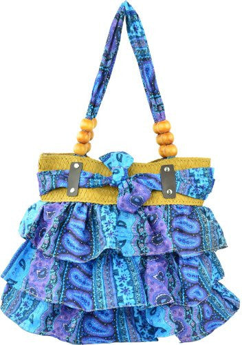 1Antigua Ruffled Beaded Shoulder Bag