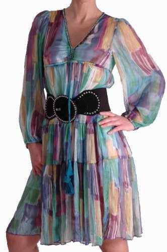 1Silky Multicoloured Panelled Print Dress