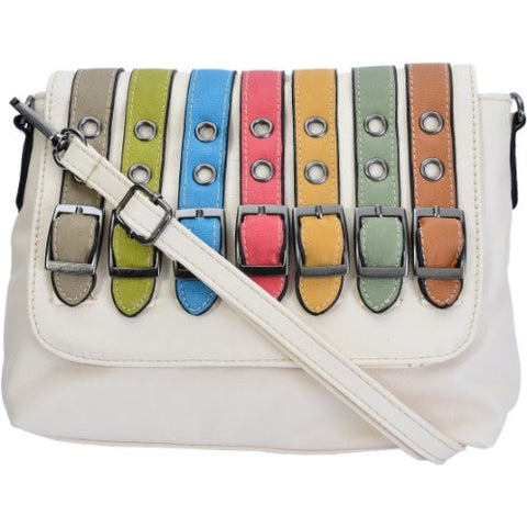 Danice Faux Leather Buckle Cross Body Bag