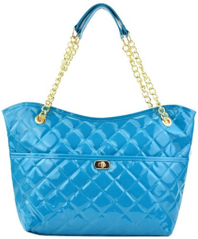 Marina Quilted Patent Tote Shoulder Bag