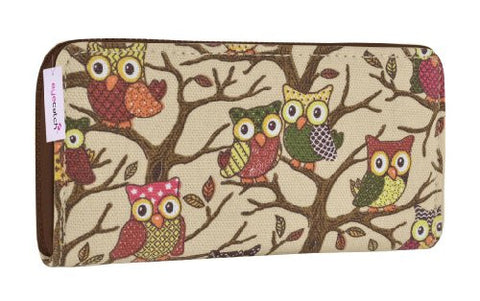 Canvas Owl Print Wallet