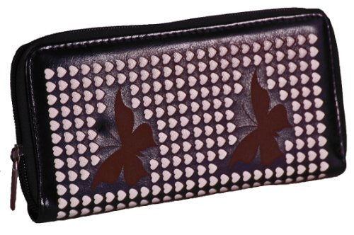 Faux Leather Butterfly Hearts Print Wallet