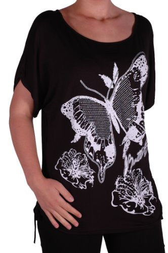 1Butterfly Print Ruched Short Sleeve Plus Size Tops