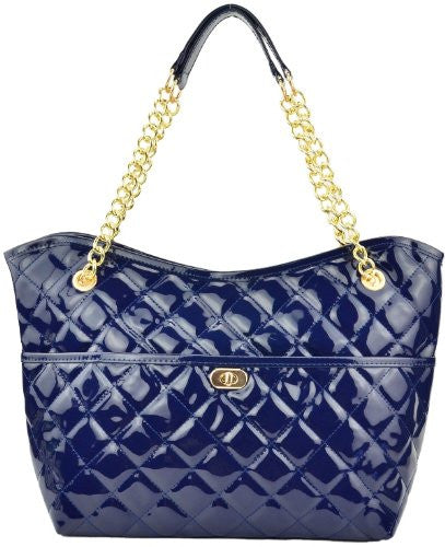 1Marina Quilted Patent Tote Shoulder Bag