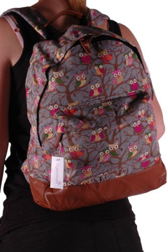 1Canvas Owl Print Backpack