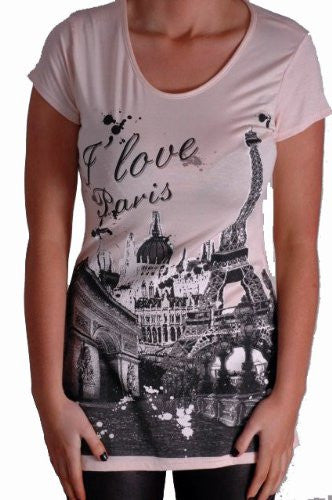 I Love Paris Print Tops