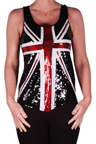 Brittania Union Jack Sequined Tops