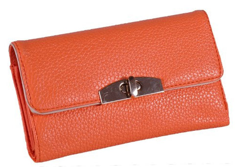 Faux Leather Flap Over Lock Purse