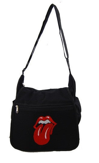 1EyeCatchBags - Rock Lips Canvas Shoulder Bag Black