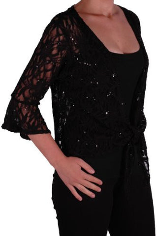 EyeCatch Oversize 12-26 - Darcey Ladies Sequin Cardi Tie Shrug Lace Bolero Top Womens Plus Size