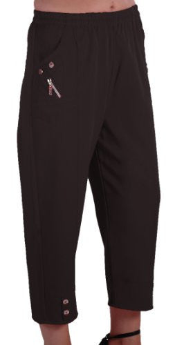 1EyeCatch - Women Capri Crop Pants Flexi Stretch Plus Sizes Ladies 3/4 Trousers 12-26