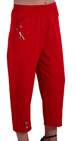 EyeCatch - Women Capri Crop Pants Flexi Stretch Plus Sizes Ladies 3/4 Trousers 12-26