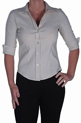 EyeCatch - Ladies Casual Office Work School Fitted Stretch Womens Blouse Top