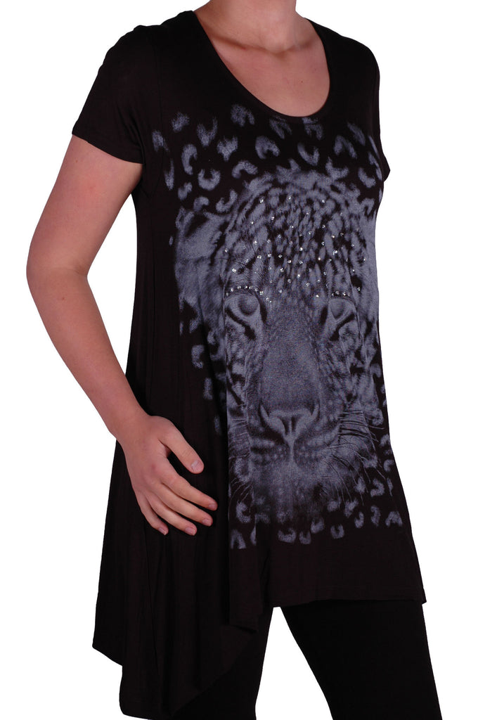 1EyeCatch Plus - Ladies Graphic Tiger Long Draped Womens Sparkle Short Sleeve Stretch Top Sizes 14 - 28