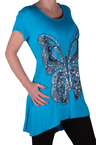 EyeCatch Plus - Butterfly Motif Long Womens Short Sleeve Loose Stretch Ladies Top Sizes 14 - 28
