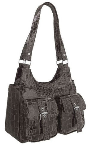 Haven Faux Leather Croc Print Shoulder Bag