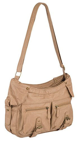 Multi Compartment Faux Leather Shoulder Bag