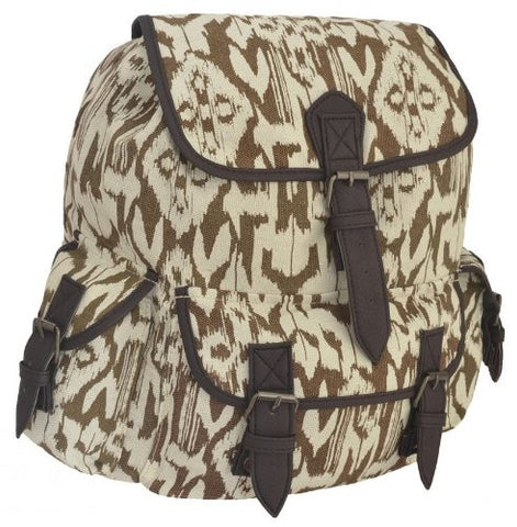 Aztec Canvas Faux Leather BackPack