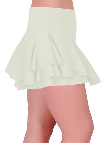 Womens Scuba Stretch Crepe Frill Ruffle Skort Dance Party Club Mini Skirt With Inner Shorts