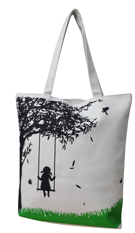 Canvas Designer Print Shopper Handbag