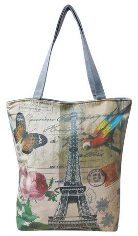 Canvas Designer Print Shoulder Bag