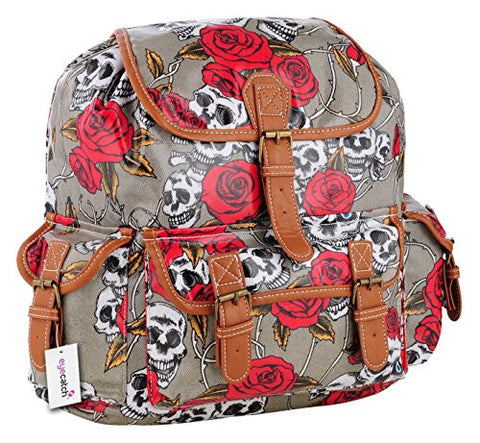 Oil Cloth Skull Roses Print Backpack