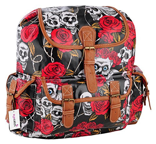 1Oil Cloth Skull Roses Print Backpack