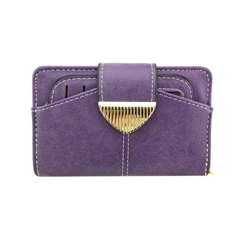 Faux Leather Zipped Coin Multi Credit Wallet