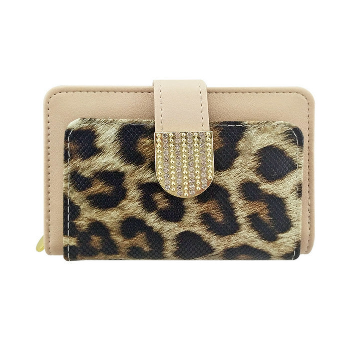 1Animal Print Faux Leather Zipped Credit Wallet