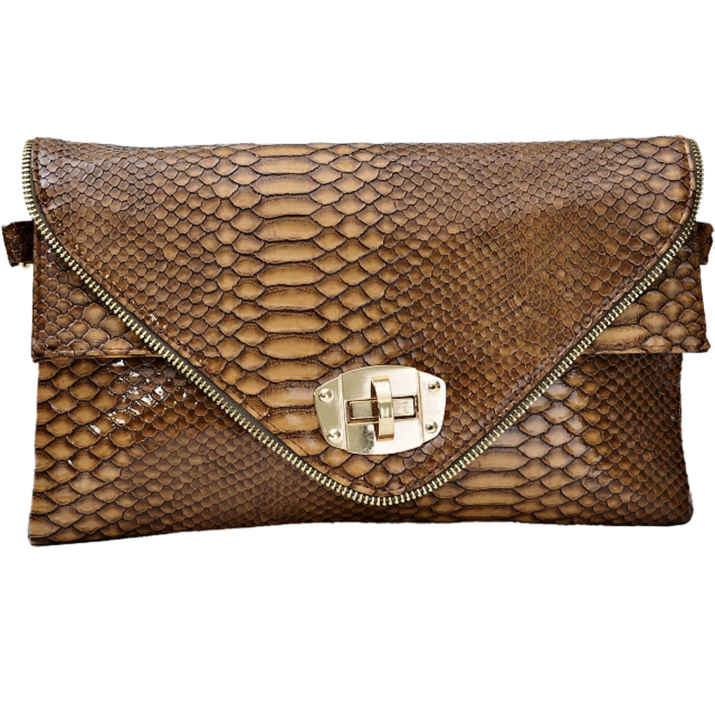 1Animal Croc Print Faux Leather Envelope Style Clutch Bag