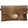 Animal Croc Print Faux Leather Envelope Style Clutch Bag