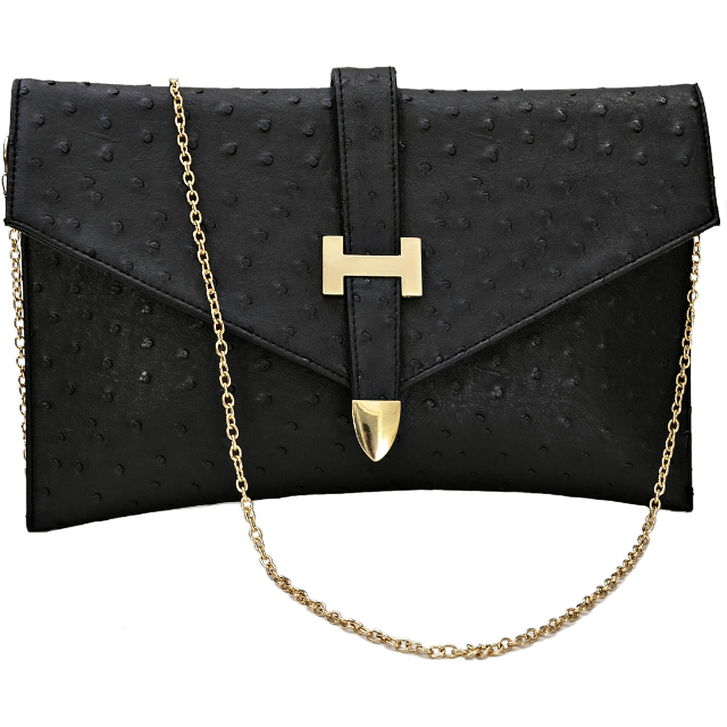 Faux Leather Envelope Style Clutch Bag