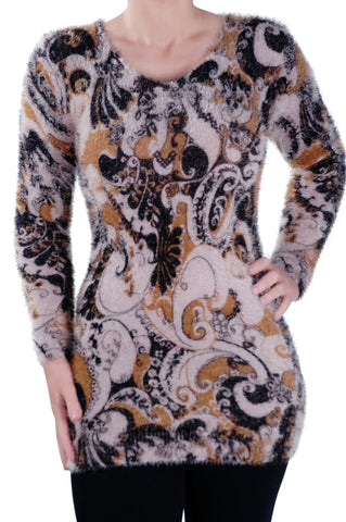 Paisley Knitted Scoop Neck Long Sleeve Jumper