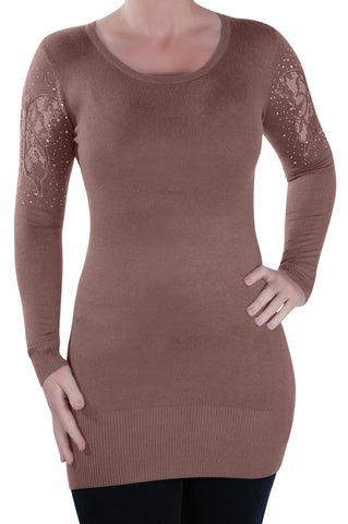 Scoop Neck Fine Knit Knitted Pullover