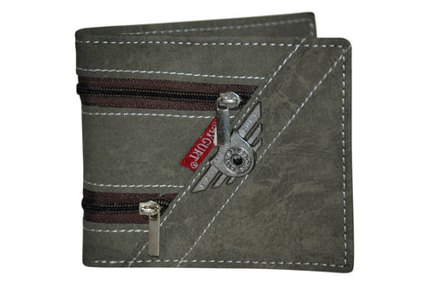 Faux Leather Trifold Coin Credit Card Wallet