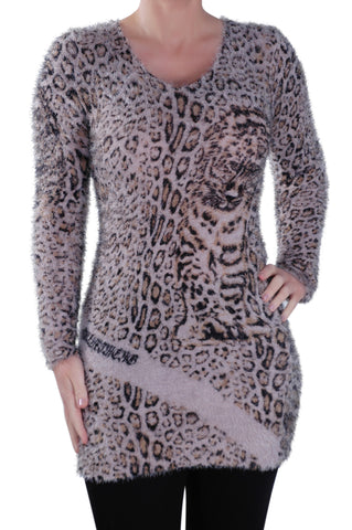 Leopard Print Knitted Scoop Neck Long Sleeve Jumper