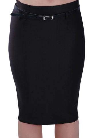Knee Length Belted Plain Pencil Skirt