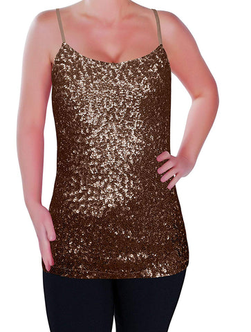 Womens Sparkly Sequin Strappy Vest Top Cami Sequined Sleeveless Camisole Glitter Party Tops