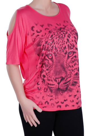 Cairo Tiger Print Off the Shoulder Tunic Top
