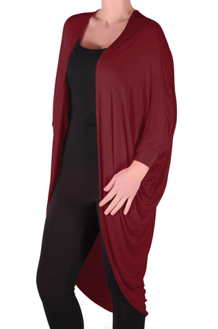 Baggy Waterfall Open Draped Batwing Sleeves Cardigan